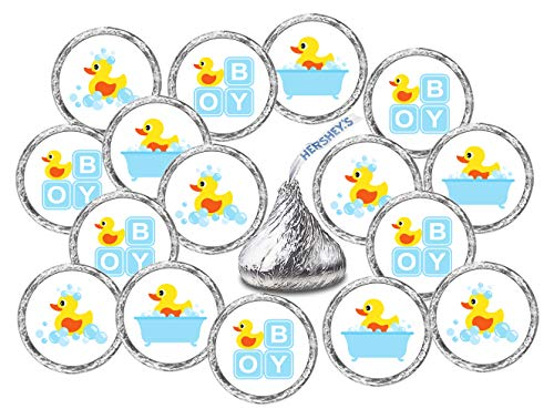 RokAPary 324 Blue Duck, Rubber Ducky Theme Baby Shower Favors Stickers for Baby Shower Or Baby Sprinkle Party, Baby Shower Kisses Stickers, Baby Shower Blue Favors, Birthday Ducky Kisses Stickers ()
