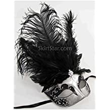 Largemouth Women's Feather Topped Masquerade Mask