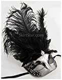 Largemouth Women's Feather Topped Masquerade Mask (Silver/Black)