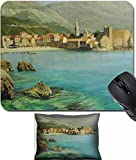 MSD Mouse Wrist Rest and Small Mousepad Set, 2pc Wrist Support design 15339689 l Bay near old Budva on the Montenego Riviera painted on canvas by me Kiril Stanchev
