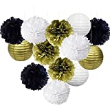 Black Gold and White Party Decorations Hanging Tissue Paper Pom Poms Flowers Paper Lanterns for 30th 40th 50th 60th 70th 80th Birthday Decorations Retirement Party Decorations
