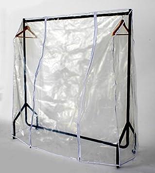 Funda transparente para perchero con dos cremalleras, plástico, transparente, 4ft Long x 5ft High