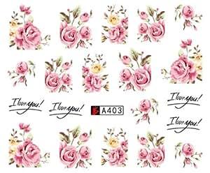 Amazon art flower pink colors rose water design tattoos nail price mightylinksfo