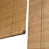 LXLA - Wooden Roller Blinds - 60% Sun Shade Bamboo Blind with Pull Rope, Sunscreen Blind for Patio/Pavilion/Corridor - Straw Color (Size : W80cm X H100cm)