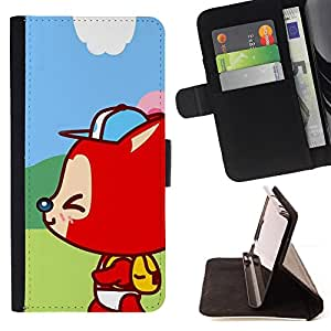 - Cute Happy Fox Kid - - Monedero PU titular de la tarjeta de cr????dito de cuero cubierta de la caja de la bolsa FOR Samsung Galaxy S5 Mini, SM-G800 RetroCandy