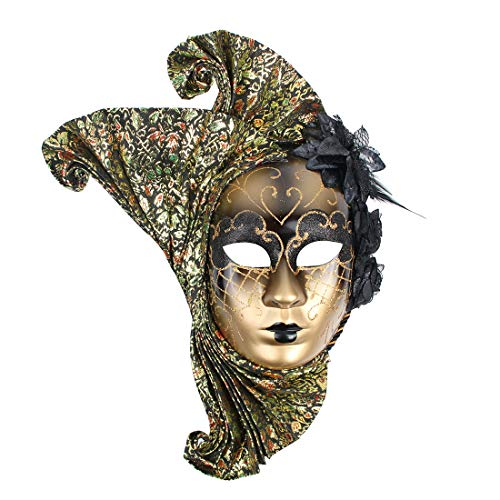 Hophen Lady Flower Jester Venetian Mask Masquerade Mardi Gras Art Wall Decorative Collection (Black)