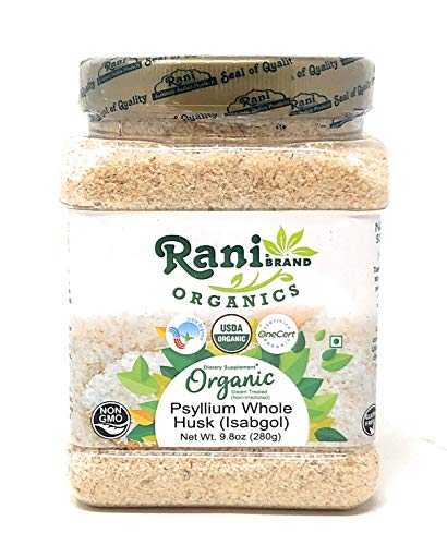 Rani Organics Psyllium Whole Husk Powder (Isabgol), Dietary Fiber Supplement, USDA Organic 9.8oz (280g) PET Jar ~ All Natural | Vegan | Gluten Free Ingredients | Non-GMO | Indian Origin