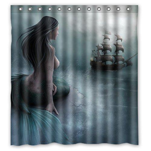 H x 182,9/cm L ruishandianqi sir/ène Fille et Voile sur mer Bateau Pirate Tissu Polyester r/ésistant imperm/éable Rideau de Douche//Bain//Douche 167,6/cm