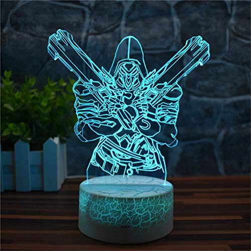 Overwatch 3D Night Lights Baby Optical Illusion Mood Lamps RGB Changeable Lighting Game Fun Gifts for Birthday Holiday Christmas Party Decoration Gift Ideas for Kids Boys Girls Teen(Reaper Crack -