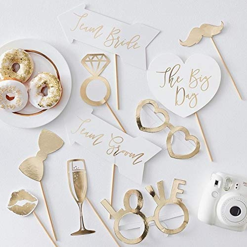 Ginger Ray Gold Wedding Photo Booth Props X10, Multicolor -