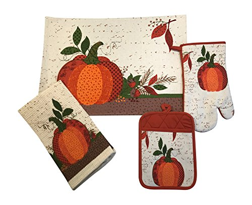 Fall Harvest Pumpkin Placemats, Oven Mitt, Pot Holder, and Kitchen Towel-7 Pc Set-
