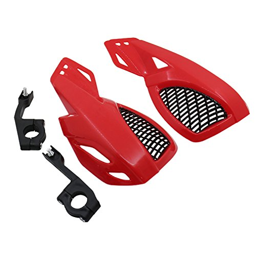 Handguards For Honda Kawasaki Yamaha Suzuki Street Dirt bike Dual Sport bike Cruiser Bobber Chopper Touring Atv Scooter Offroad (red) (Dual Sport Handguards)