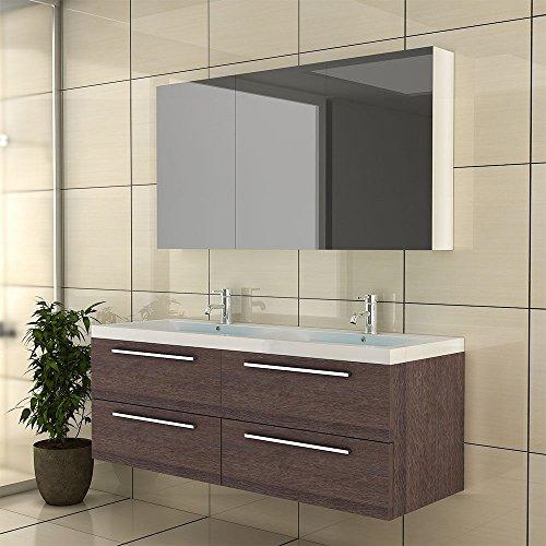 Waschplatz / Badezimmer Doppelwaschbecken / Badmöbel Waschtischunterschrank / Waschtisch / Modell Garda 1440 / Farbe Alamo Eiche / Badschrank / Unterschrank mit Soft-Close