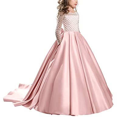 IWEMEK Vestido de la Vendimia Primera Comunión Cordón Vestido de Niña de Flores de Boda Princesa Vestidos de Noche Dama De Honor Manga Larga ...