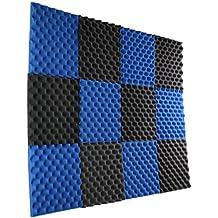 """12 Pack- Ice Blue/Charcoal Acoustic Panels Studio Foam Egg Crate 1"""" X 12"""" X 12"""""""