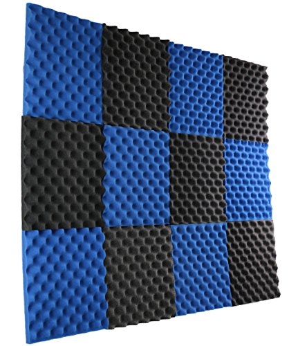 "12 Pack- Ice Blue/Charcoal Acoustic Panels Studio Foam Egg Crate 1"" X 12"" X 12"""
