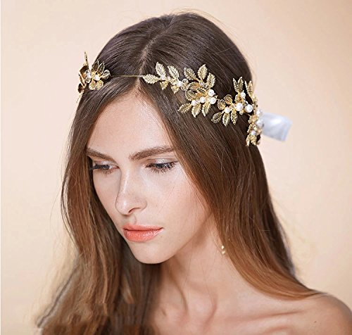 Greek / Roman Goddess Gold Leaf Crown Headpiece - Pearl and Crystal Bridal Wedding Tiara Headbands (Rose (Ancient Roman Accessories)