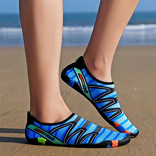 QIMAOO Barefoot Skin Shoes Water Socks, Men Women Quick Dry Water Sport Shoes, Unisex Aqua Shoes for Swim Yoga Beach Running Snorkeling Swimming Scuba Diving Strips Blue