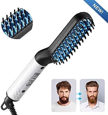 Beard Straightener Brush, Men's Electric Quick Hair Straightening Comb Massage Comb Curler, Flexible Modeling Beard Care, Ceramic Anti Scald Curling