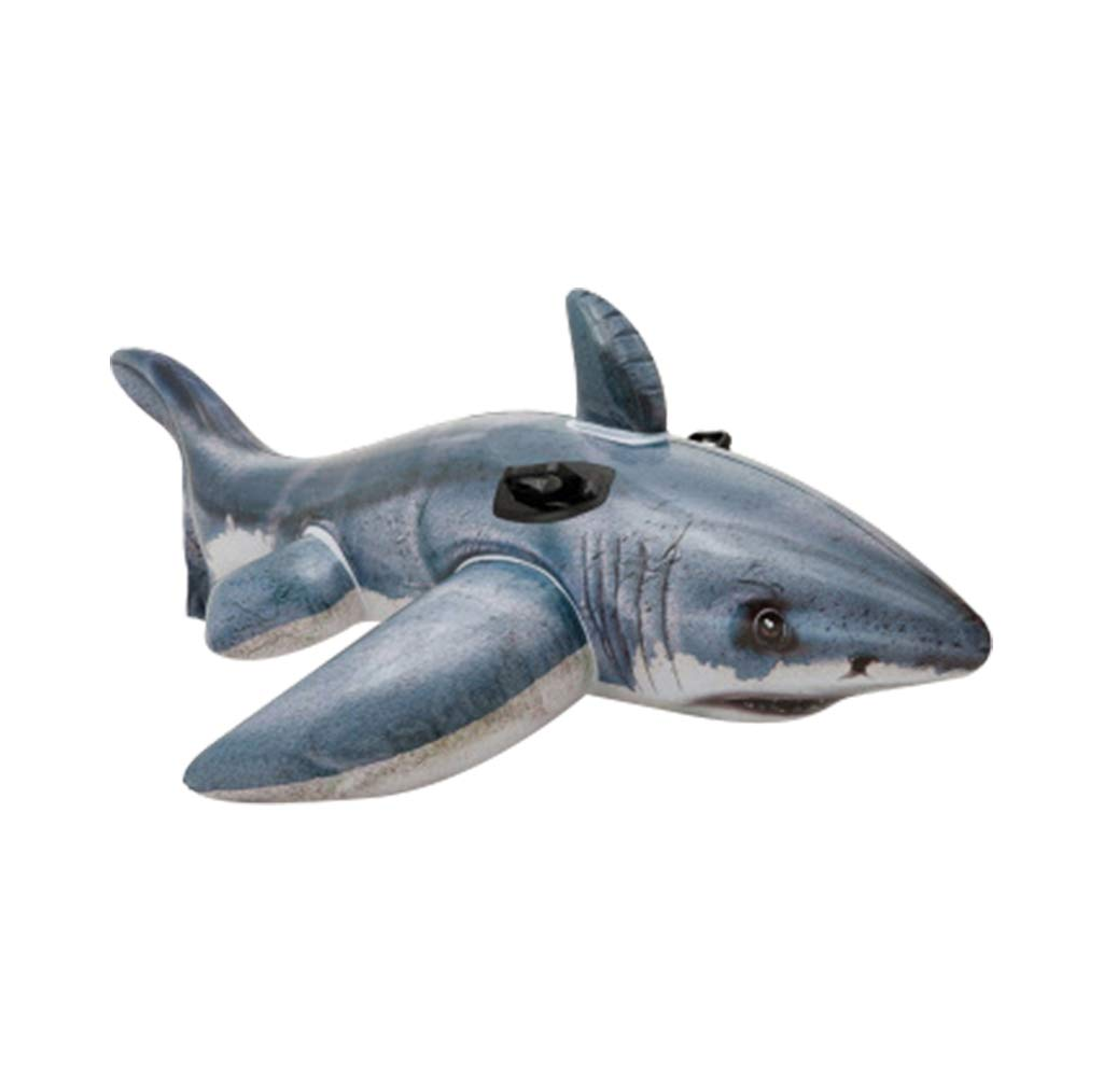 MAMaiuh Pool Floats - Shark Giant Inflatable Swimming Pool Floating Lounger Seat Boat with Float Ball Beach Toy for Outdoor Swimming Pool Party for Adults & Children (Gray)