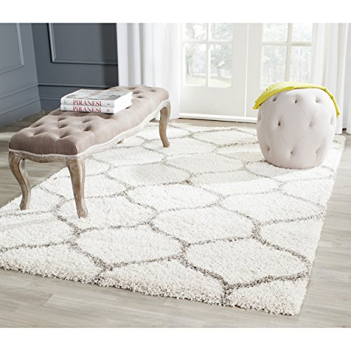 Safavieh Hudson Shag Collection SGH280A Ivory and Grey Area Rug, 4 feet by 6 feet (4' x - White Area Rug
