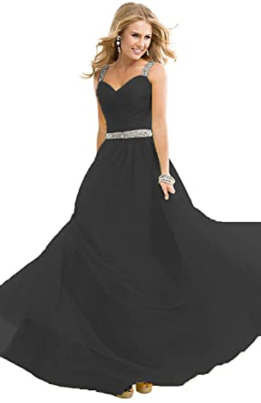 Bridal Womens Long Chiffon Bridesmaid Dresses Formal Evening Gown Size 2 Black