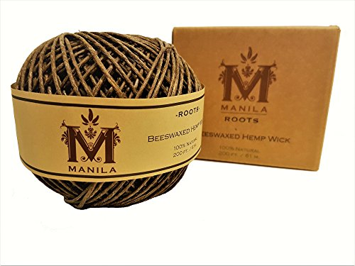 Organic Hemp Twine - Beeswax Hemp Wick by Manila Roots - Organic Flame, Candle Making Kit, Hemp Twine Brown Spool - Strong and 100% Natural , 200 ft. / 61 m. 2mm Thick