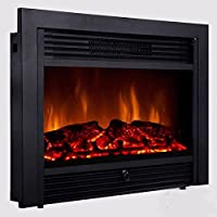 28.5 inch Embedded Fireplace Electric Insert Heater Glass View Log Flame Remote Home