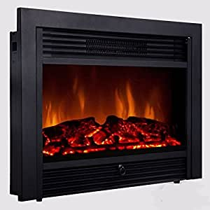 28 5 Inch Embedded Fireplace Electric Insert Heater Glass View Log Flame Remote Home