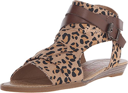 Price comparison product image Blowfish Girl's Balla-K Canvas Golden Safari Leopard/Whiskey Ankle-High Fabric Sandal - 3M