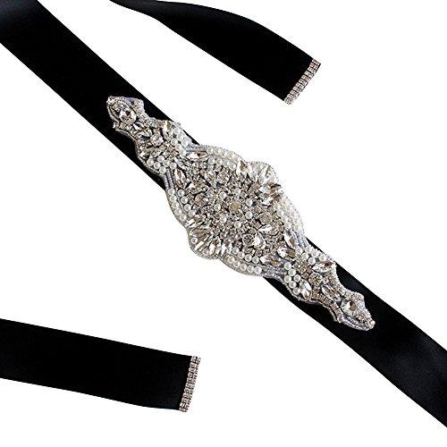 Women's Bridal Dress Accessories Long Beaded Belt Sash Plus Size for Bride,Black (Silk Beaded Belt)