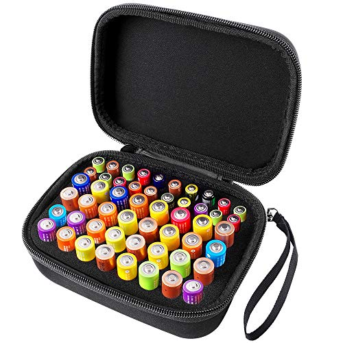 COMECASE Hard Battery Organizer Storage Box Carrying Case Bag - Holds 32 x AA, 20 x AAA, Total 52 Batteries [Tester Not Included]