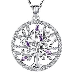 Aniu Collier arbre de vie pour femmes/filles, pendentif en pierre de naissance en argent sterling 925, bijoux en zircon…