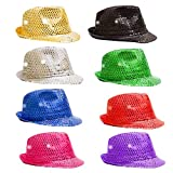 12 Pack of Unisex Kid's Toy Led Light Up Shiny Sparkle Sequin Fedora Hat Dance Cap Solid Jazz Hat Party Glitter Costume Prop (Colors May Vary)