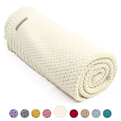 MiMiXiong Toddler Blankets Baby Knit Blankets For Boys and Girls (Ivory)