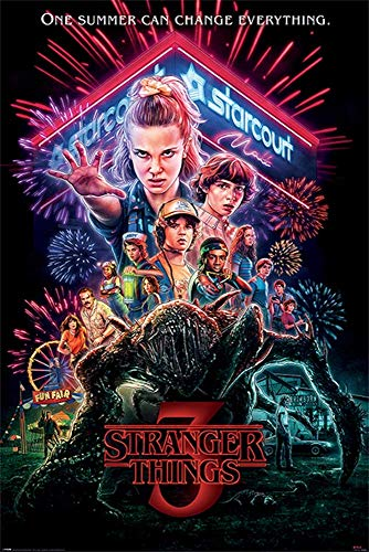 Stranger Things 3 Poster TV Show Promo 12x18 inches Neon One Summer Can Change Everything Print Sticker Retro Unframed Wall Art Gifts