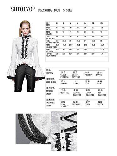 Devil Fashion Camicia a maniche lunghe in lana di camicia del collare Slim fit Steampunk gotico femminile, 7 taglie