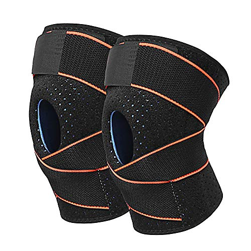 Fay Bless 1 Piece Adjustable Compression Knee Support Brace for Men Women with Elastic Strap for Running, Hiking, Arthritis, ACL, Meniscus Tear, Sports (Orange)