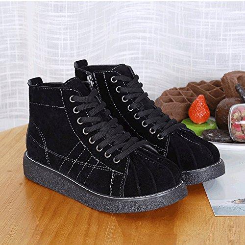 Impermeable de de Planas de Casuales Color Zapatos Ayudar Mujeres caqui Las Encaje de Zapatos para Zapatos Puro 5 Concha a Plataforma Alto de con EUR34 OY7I86Iq
