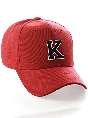 Classic 3D Raised Initial Letters A to Z Structured Baseball Hat Cap Velcro Back - Red Hat White Black Letter K -