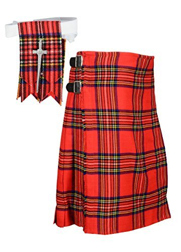 Traditional Scottish Royal Stewart Tartan Kilt FREE Flashes & Kilt Pin (Belly Button 50)