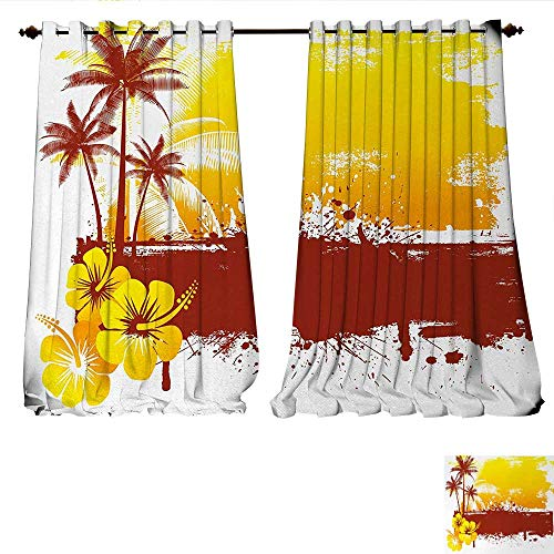 Price comparison product image Waterproof Window Curtain Palm Trees Flowers Spray Print Like Modern Sealife Ocean Themed Artwork Blackout Draperies for Bedroom W108 x L96 White Yellow Green