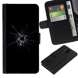 WINCASE (No Para S5) Cuadro Funda Voltear Cuero Ranura Tarjetas TPU Carcasas Protectora Cover Case Para Samsung Galaxy S5 Mini, SM-G800 - roto cristales rotos bala disparó negro