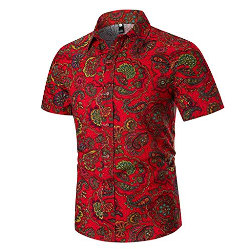 Toimothcn Button Down Shirts, Men's Slim Fit Tropical Hawaiian Shirt Short Sleeve Casual Aloha Shirt Sale (Red1,XXXL) -