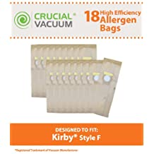 18 Kirby Style F High Efficiency Paper Vacuum Cleaner Bags Designed To Fit Kirby Ultimate G Diamond Edition, Ultimate G series, Gsix, Sentria vacuums built on 2009 and later, Compare To Part # 204808, Designed & Engineered By Crucial Vacuum