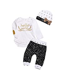 3Pcs Newborn Baby Girl Boy Gold Hello World Top Romper+Pants Leggings Hat Outfits Set