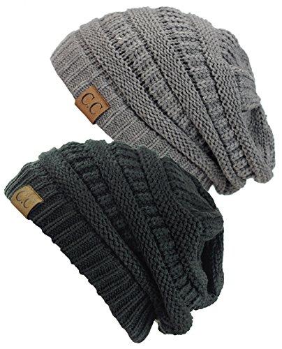 C.C Trendy Warm Chunky Soft Stretch Cable Knit Beanie Skully, 2 Pack Light Melange Gray/Dark Melange Gray