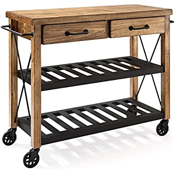 Crosley Furniture Roots Rack Industrial Rolling Kitchen Cart   Natural