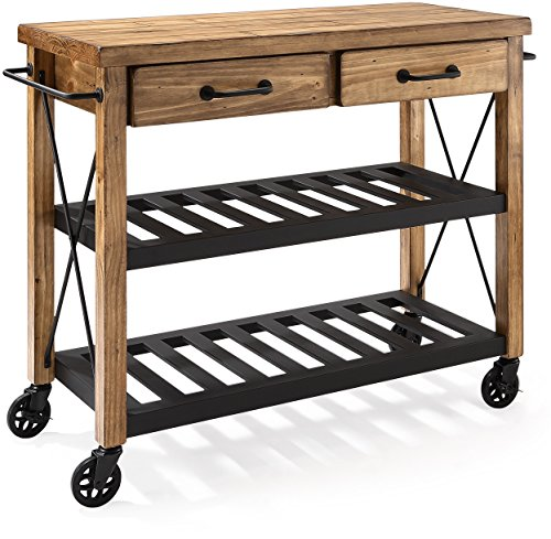 Cabinet Butcher Block - Crosley Furniture Roots Rack Industrial Rolling Kitchen Cart - Natural
