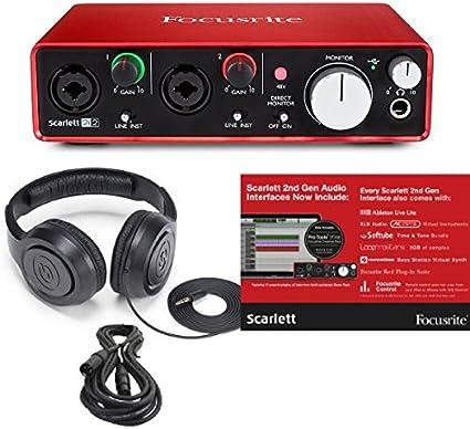 Focusrite Scarlett 2I2 (2nd Gen) 2 in/2 out USB grabación 212 interfaz de audio y Pro herramientas primera software-plug-ins con cable XLR y Studio auriculares: Amazon.es: Instrumentos musicales
